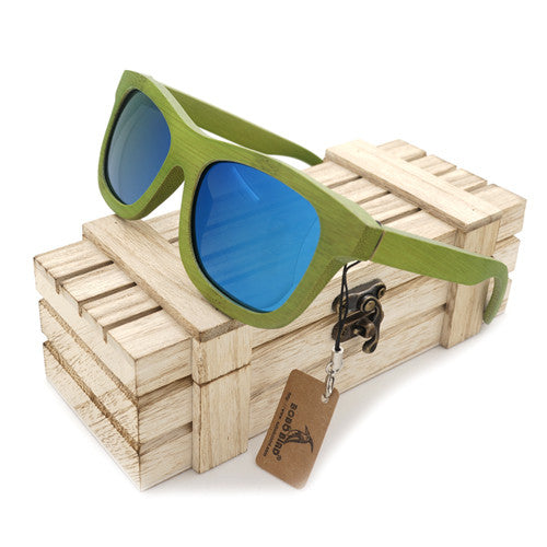 Summer Time Bamboo Unisex Green Wood Sunglasses - With Polarized UV 400 Protection Eyewear!