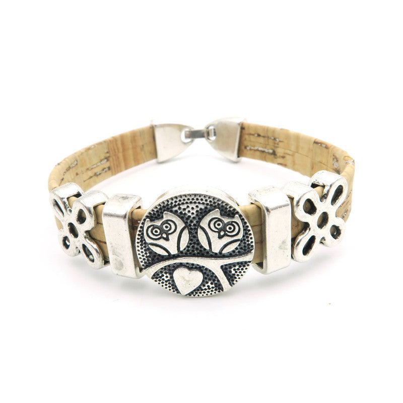 Natural Cork Vintage Double Owl Bracelet - True Love Prevails!