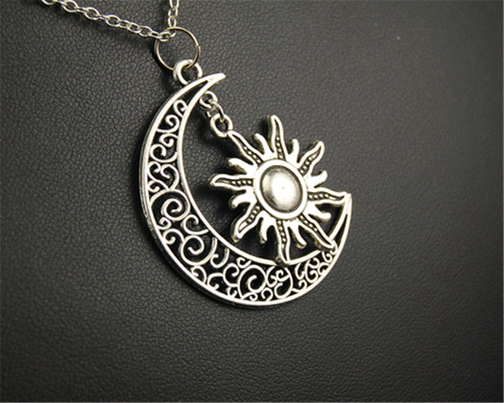 Necklace tibetan silver sun and moon pendant vegan zing necklace tibetan silver sun and moon pendant mozeypictures Image collections
