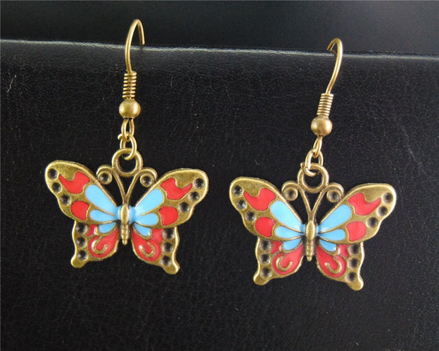 antique-bronze-silver-butterfly-dangle-drop-earrings-handmade-diy-jewelry