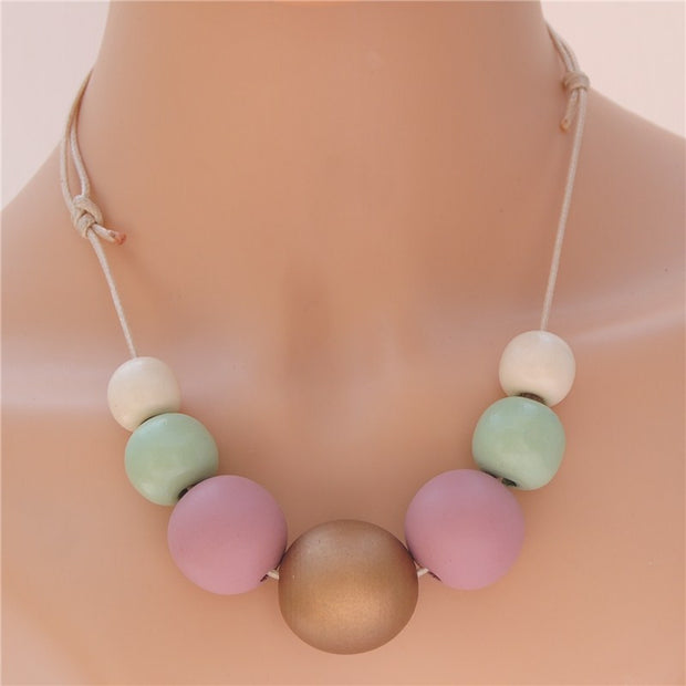 Natural Wood Ball Necklace - Statement Jewellry!