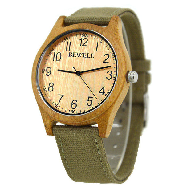 Natural Bamboo Mens Watch with Canvas Band - Sustainable Material and Vegan