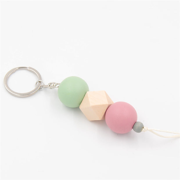 multicolor-geometric-wood-beads-keychain-for-bag-round-wooden-beads-keyrings-gifts-green-pink