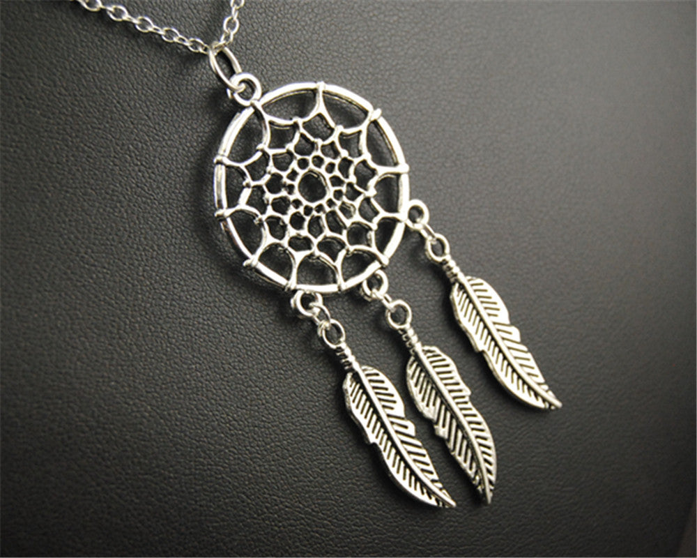 tibetan-silver-metal-net-dream-catcher-pendant-diy-handmade-jewelry-maxi-necklace