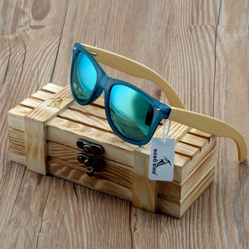 Summer Time Bamboo Mens Transparent Blue Square Frame Sunglasses - Casual Chic!