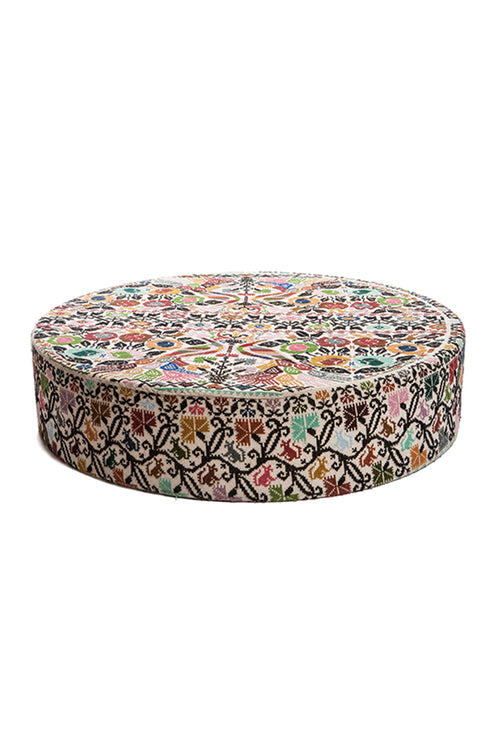 Carolina K Large Embroidered Ottoman Cream/Multi