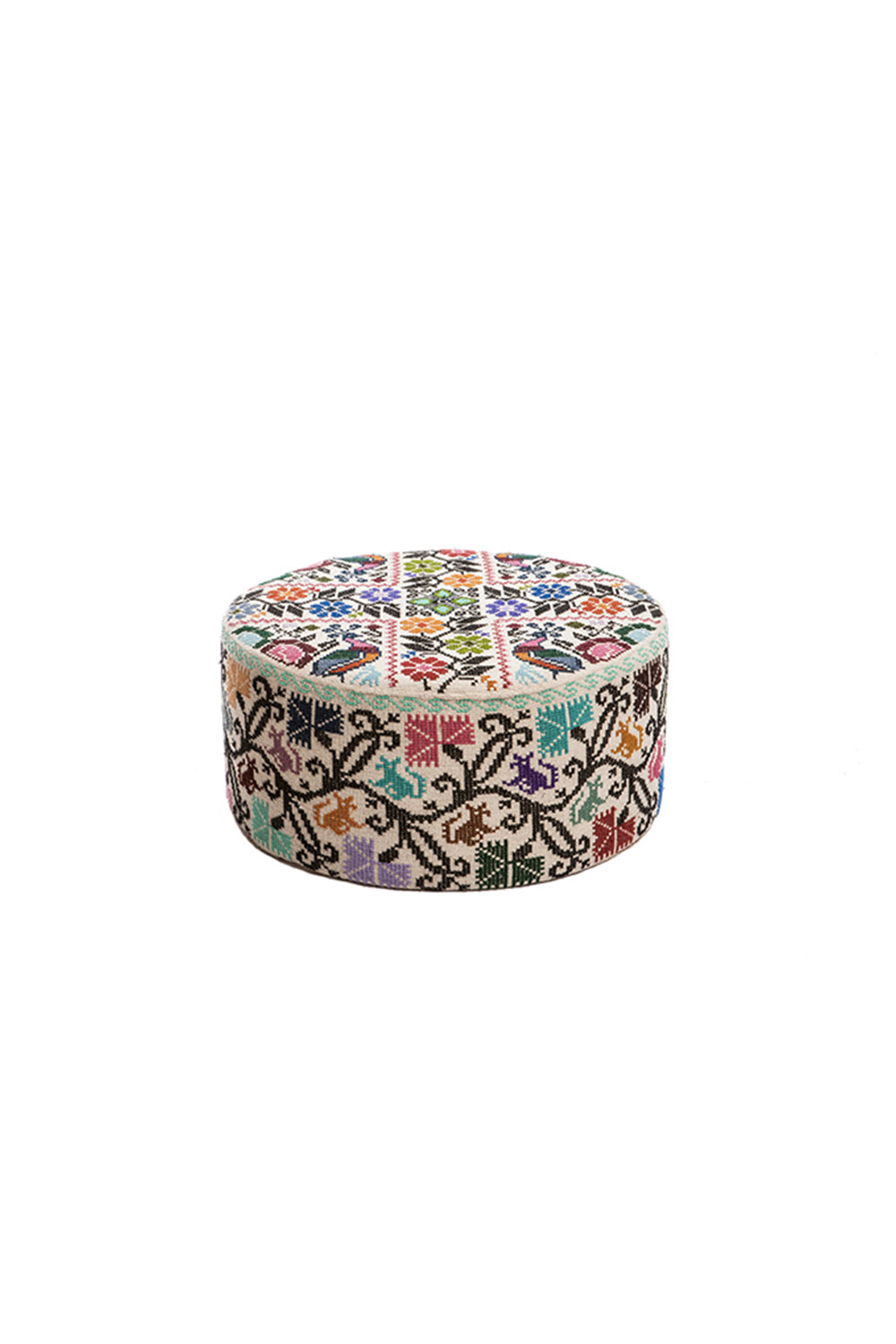 Carolina K Small Embroidered Ottoman Cream/Multi