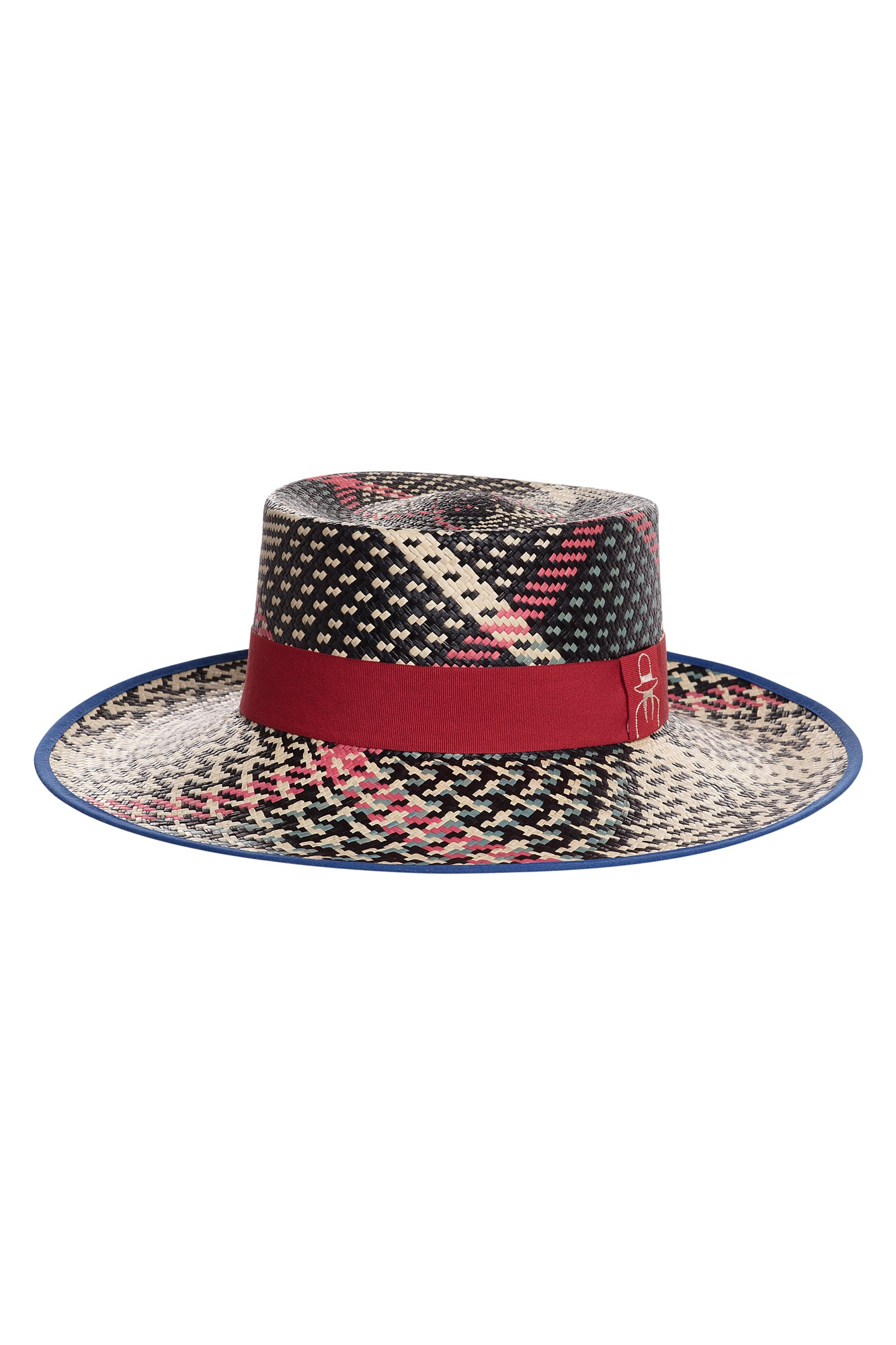 Carolina K Boat Straw Hat Blue/Black/Red