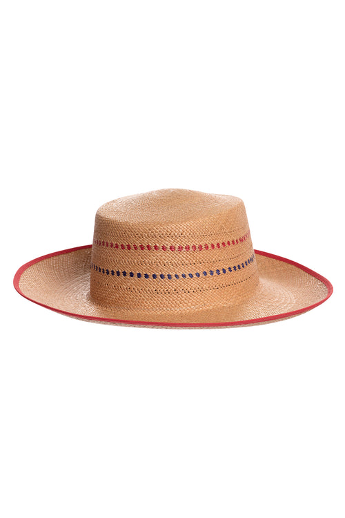 Carolina K Boat Straw Hat Tobacco/Red/Blue