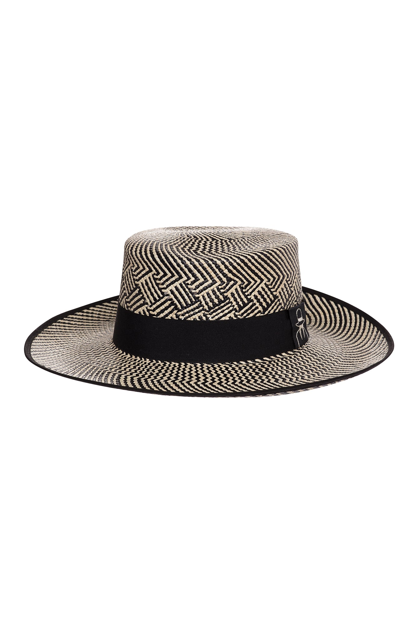 Carolina K Boat Straw Hat Black/Natural