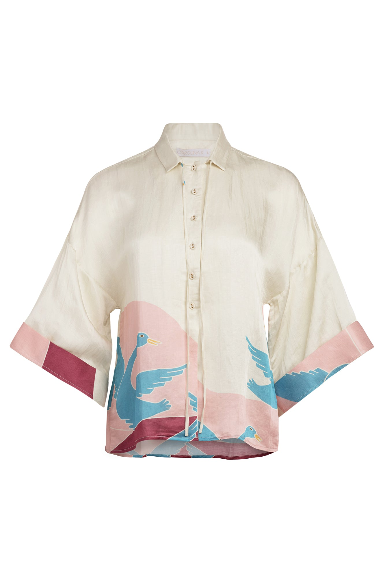 Carolina K Kimono Top in Bathing Birds Cream