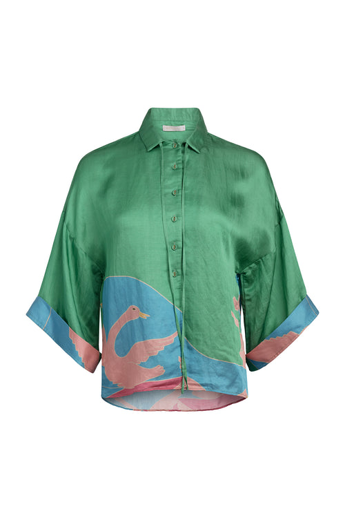 Carolina K Kimono Top in Bathing Birds Green