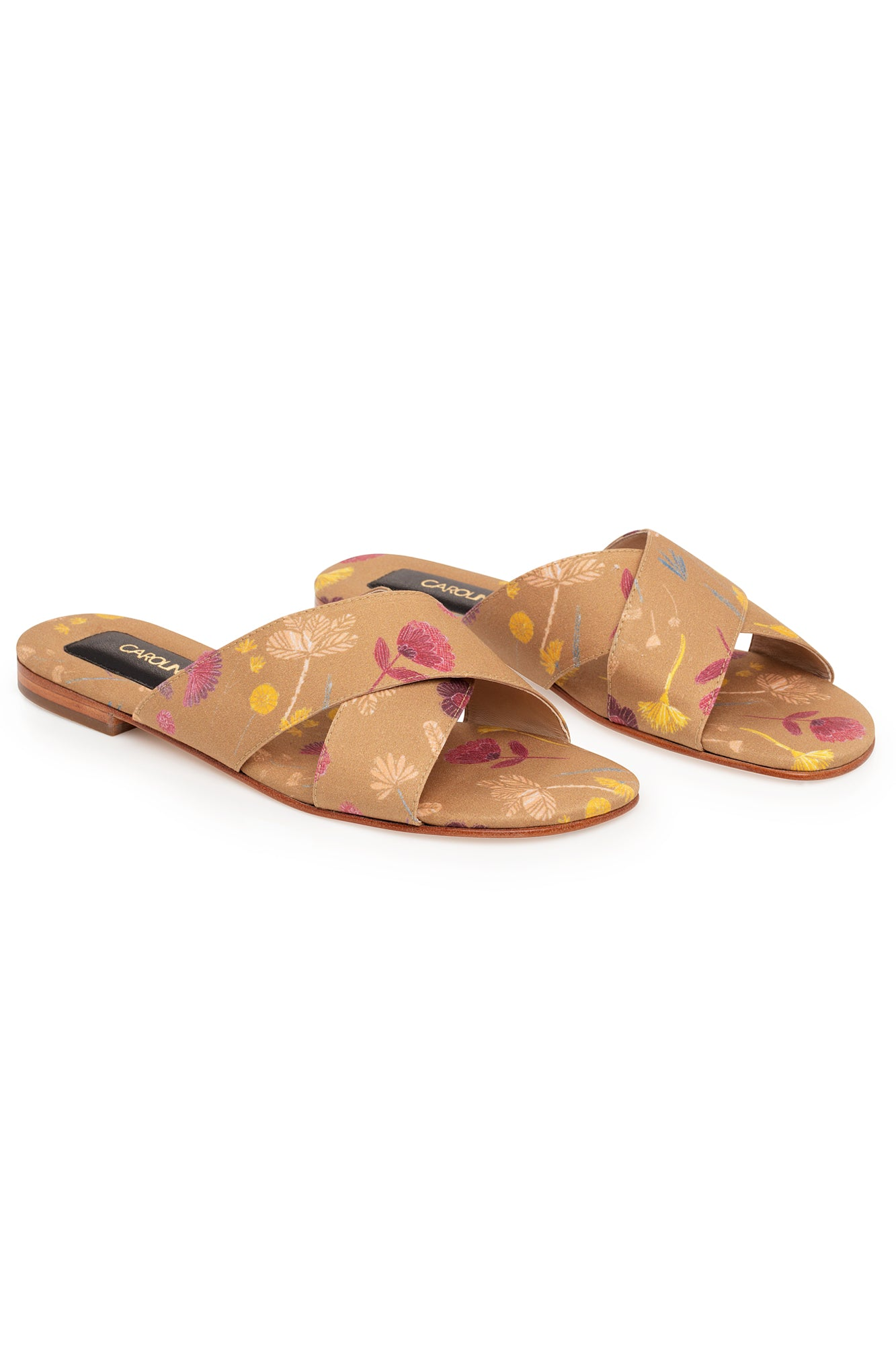 Carolina K Cross Sandal in Cinnamon Tea Flowers