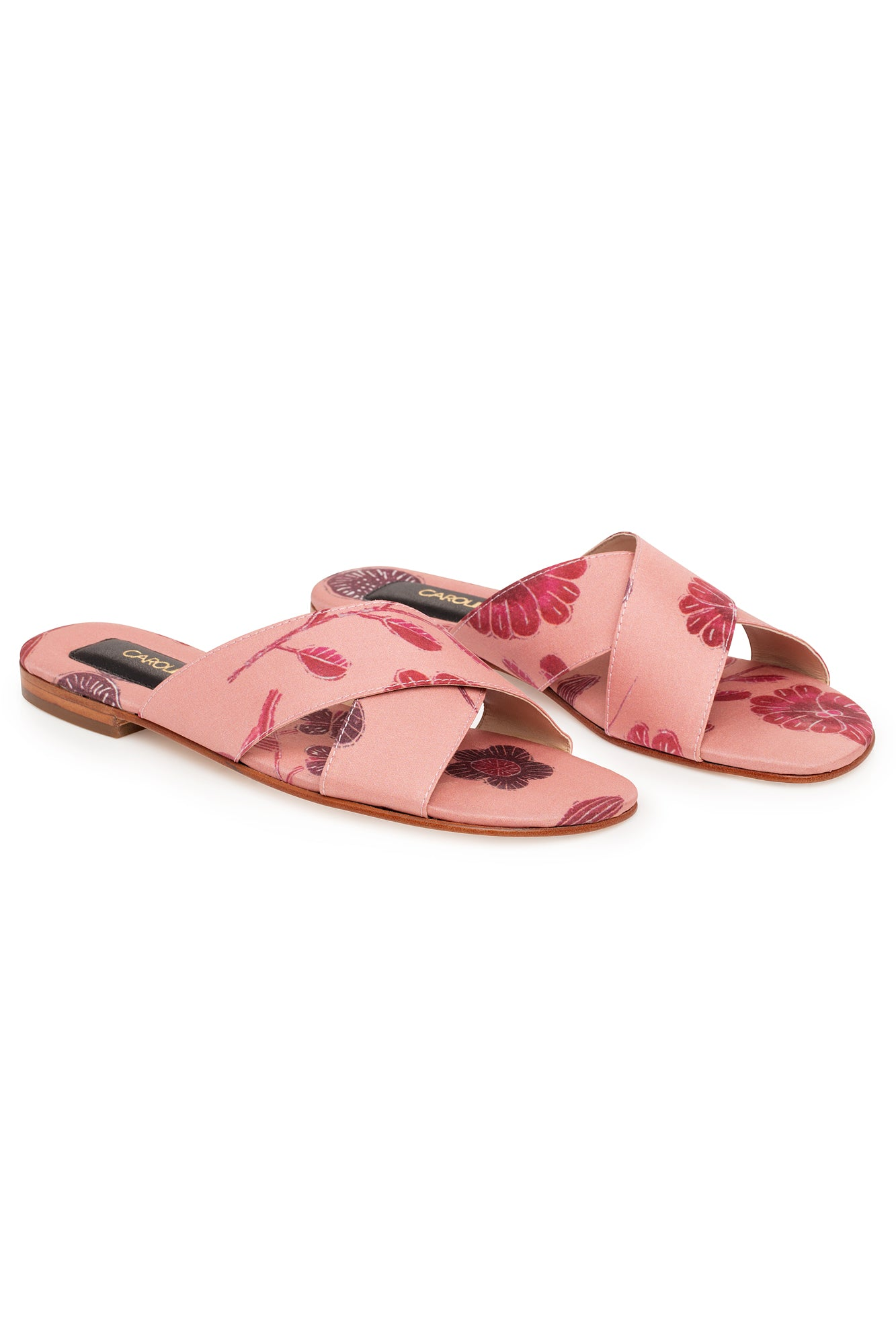 Carolina K Cross Sandal in Pink Tea Flowers