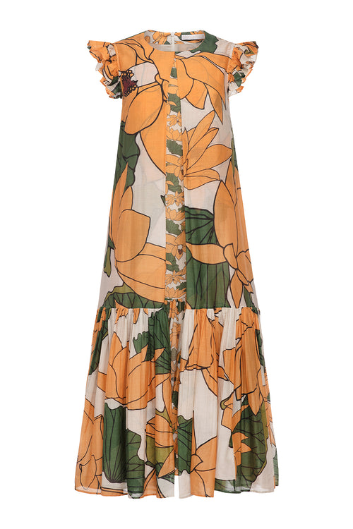 Carolina K Barbarella Dress Lotus Flower Yellow