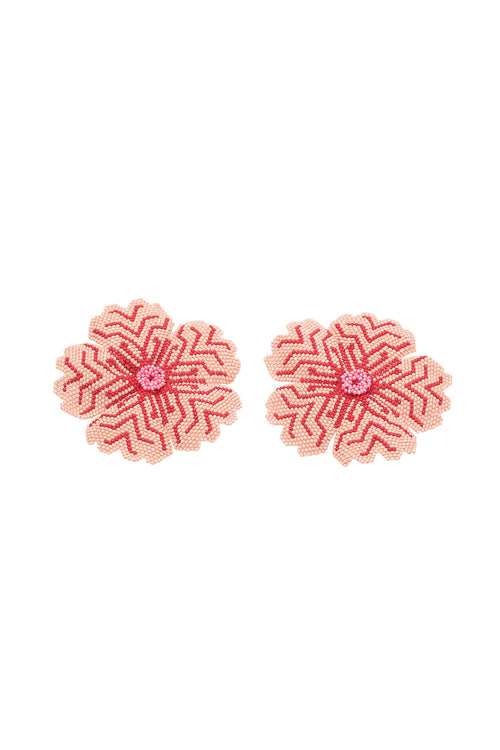 Carolina K Huichol Earrings in Rose/Red