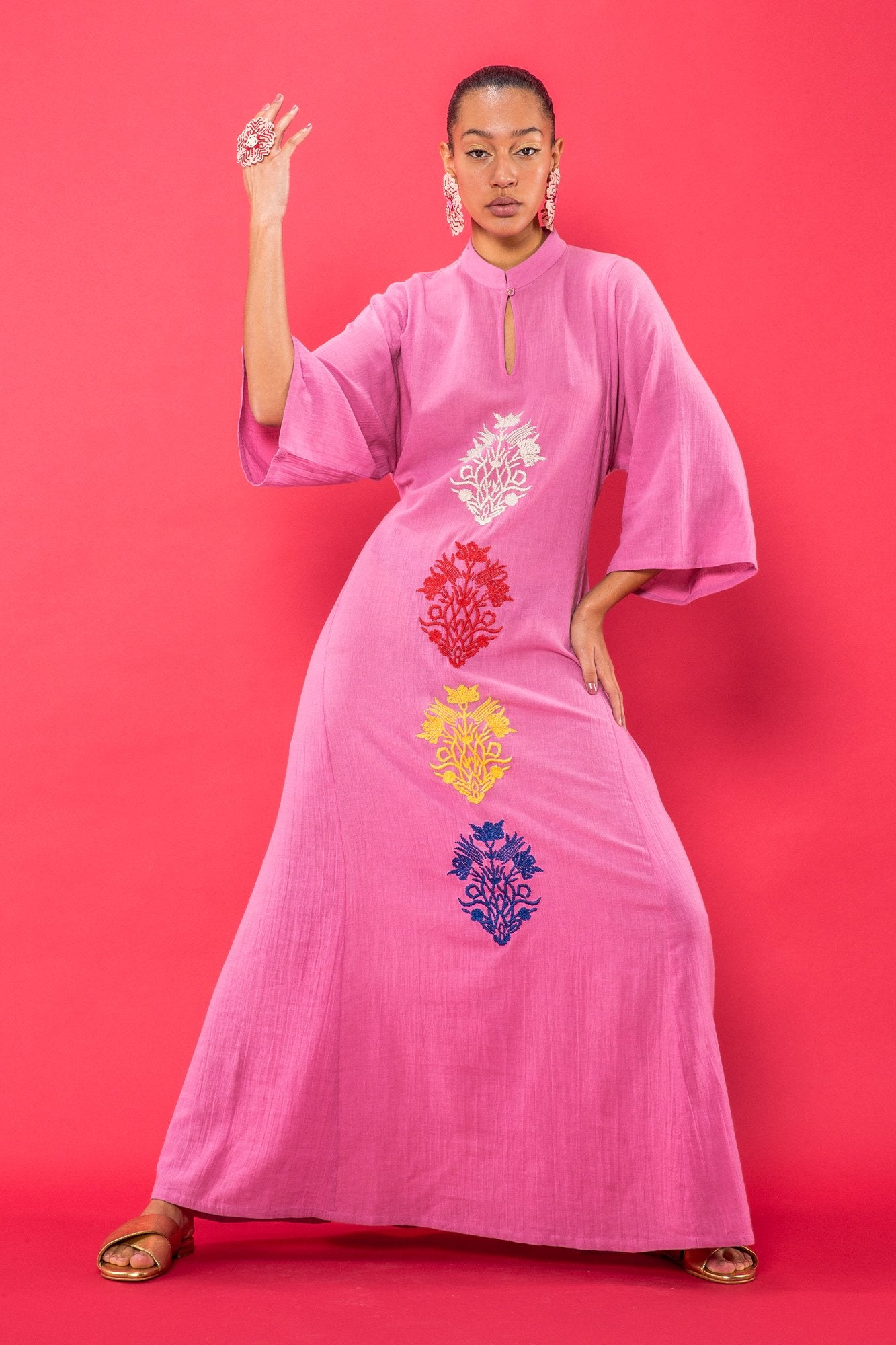 Carolina K Saturday Kaftan in Rose Pink