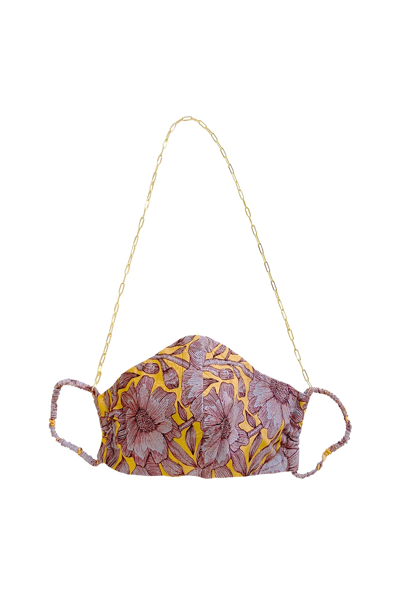 Carolina K Face Mask with Chain Purple Peonies