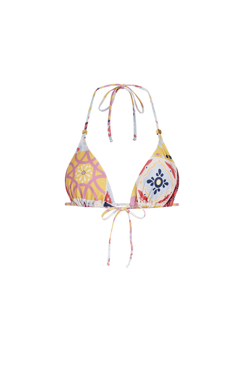 Carolina K Gabriela Bikini Top in Terracotta Tile Multi