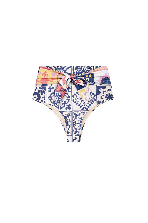 Carolina K Iris Bikini Bottom in Terracotta Tile Blue
