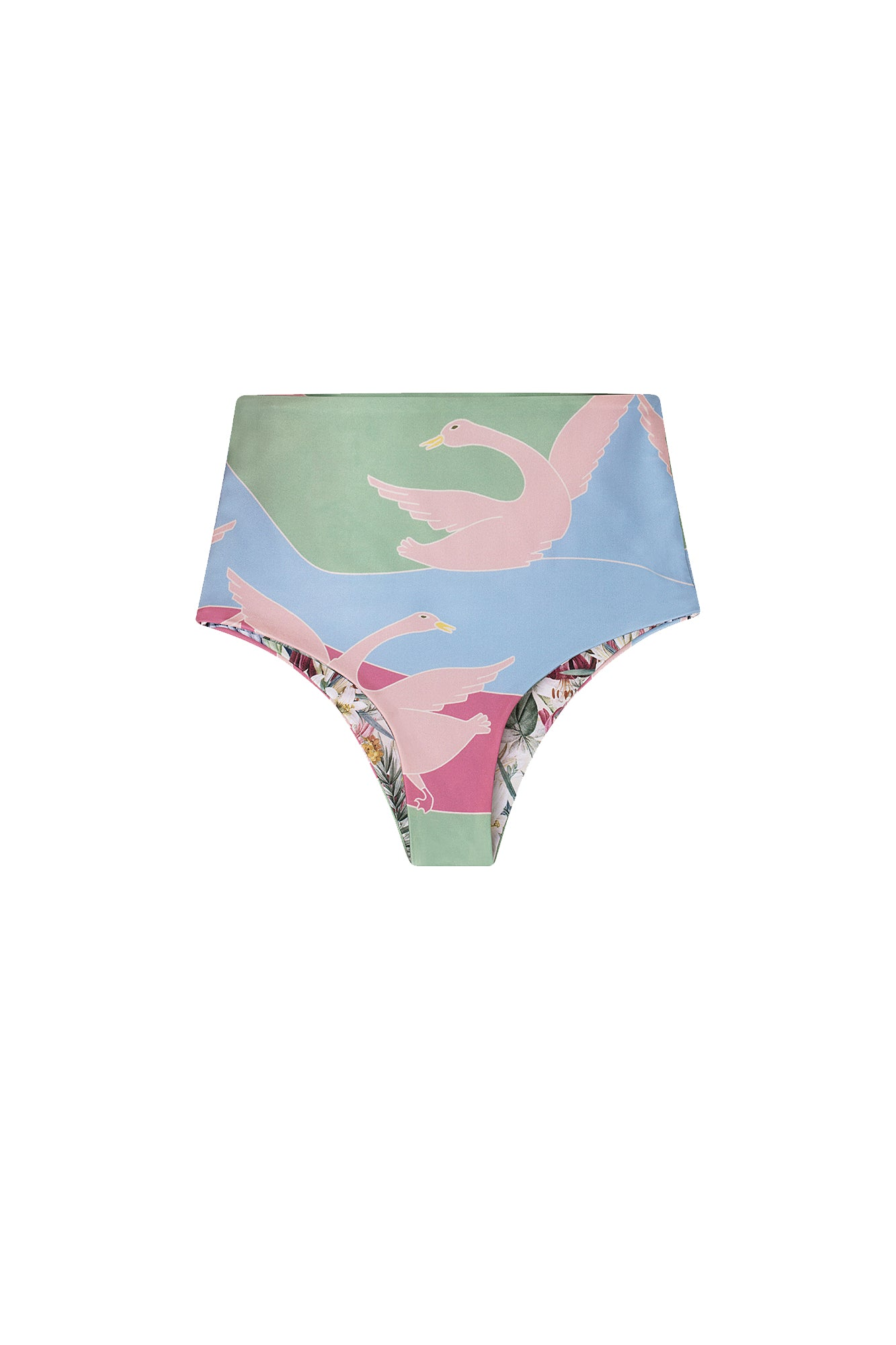 Carolina K Nina Bikini Bottom Reversible Bathing Birds Green
