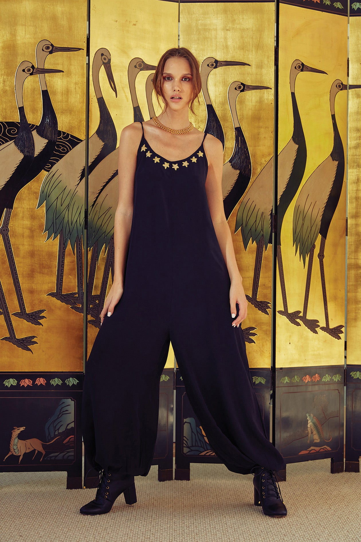 Carolina K Balloon Jumpsuit Constellation Black