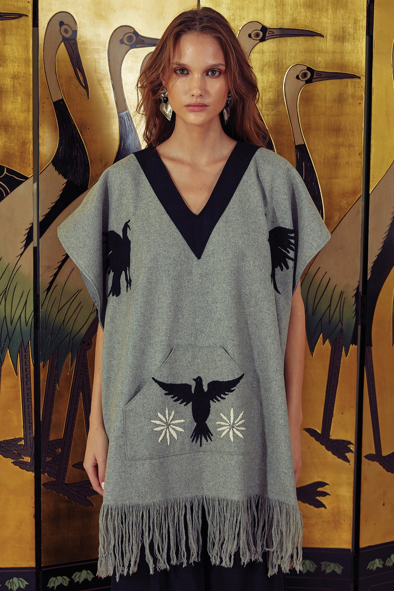 Carolina K Santa Maria Poncho Heather Grey