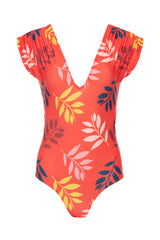 Carolina K Liset One Piece Swimsuit Red Foliage