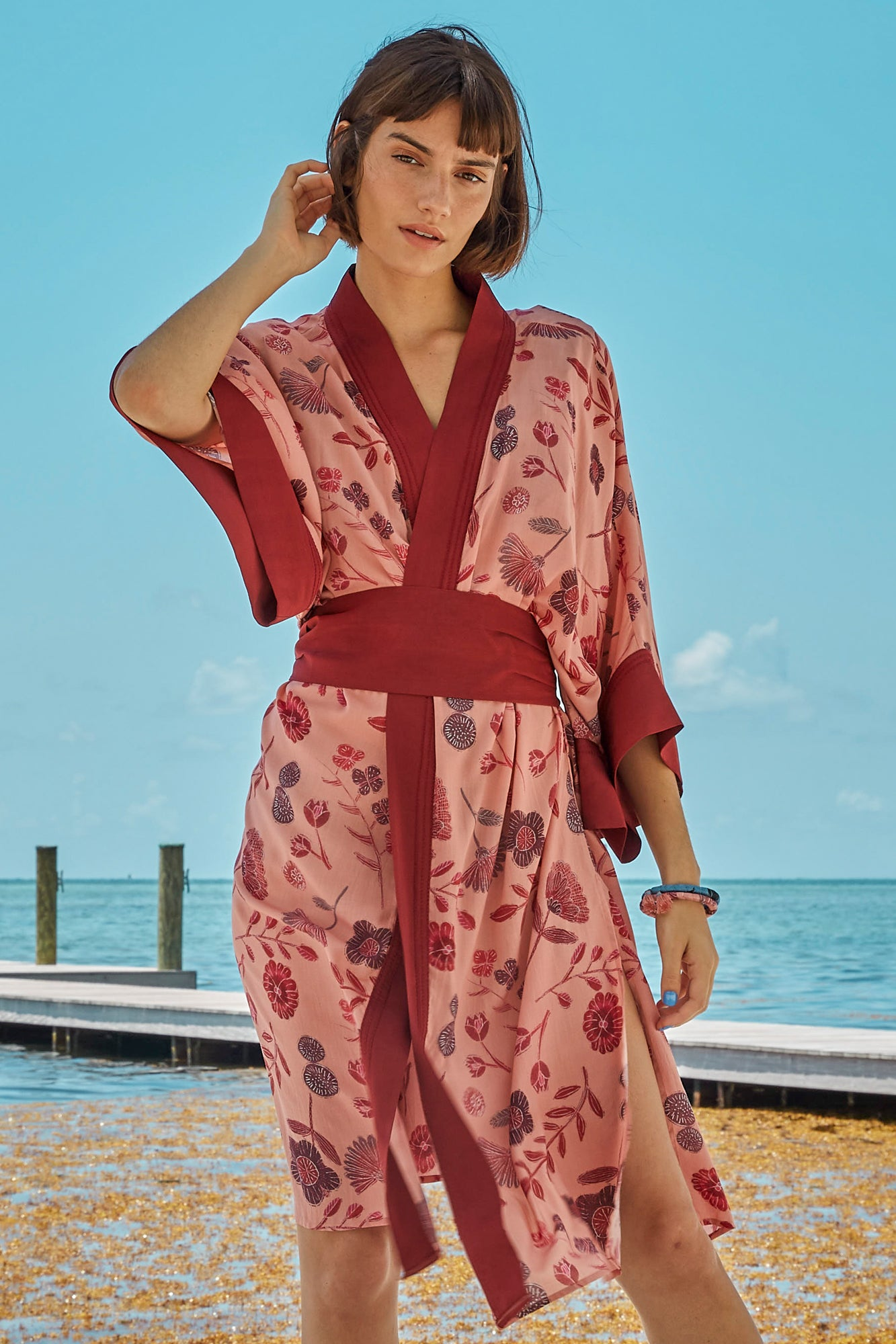 Carolina K Helen Kimono in Pink Tea Flowers