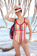 Carolina K Henley One Piece Hi Plaid