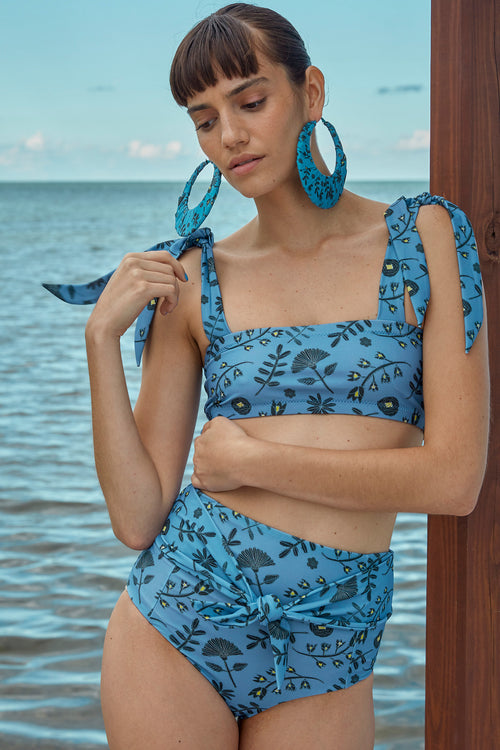 Carolina K Iris Bikini Bottom in Blue Tea Flowers
