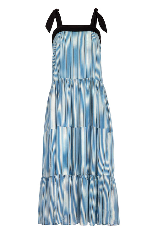 Carolina K Iris Dress in Allure Blue Stripes