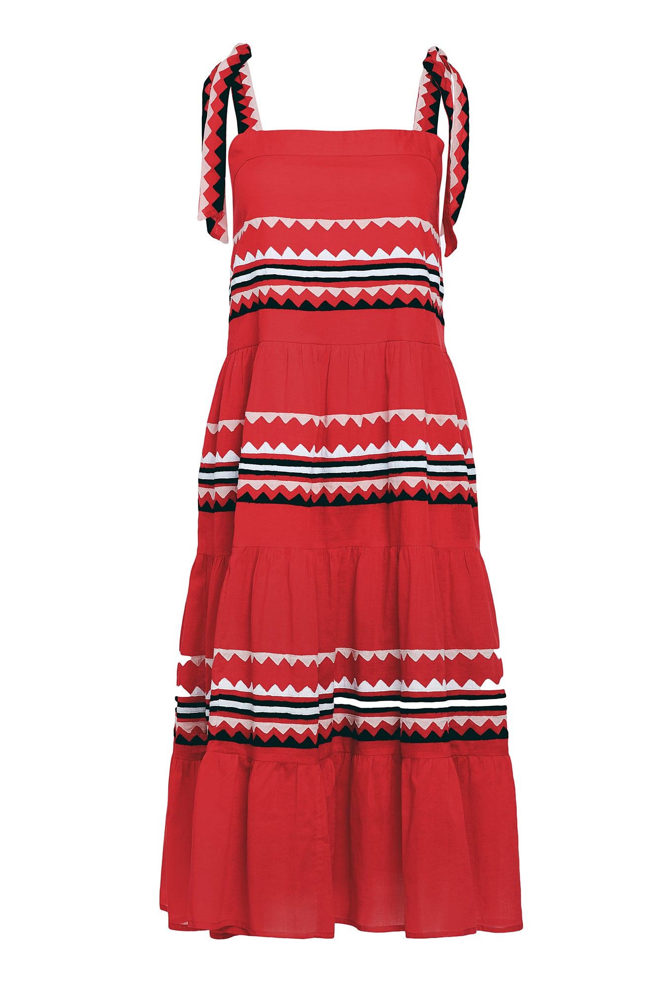Carolina K Iris Dress Red Triangles