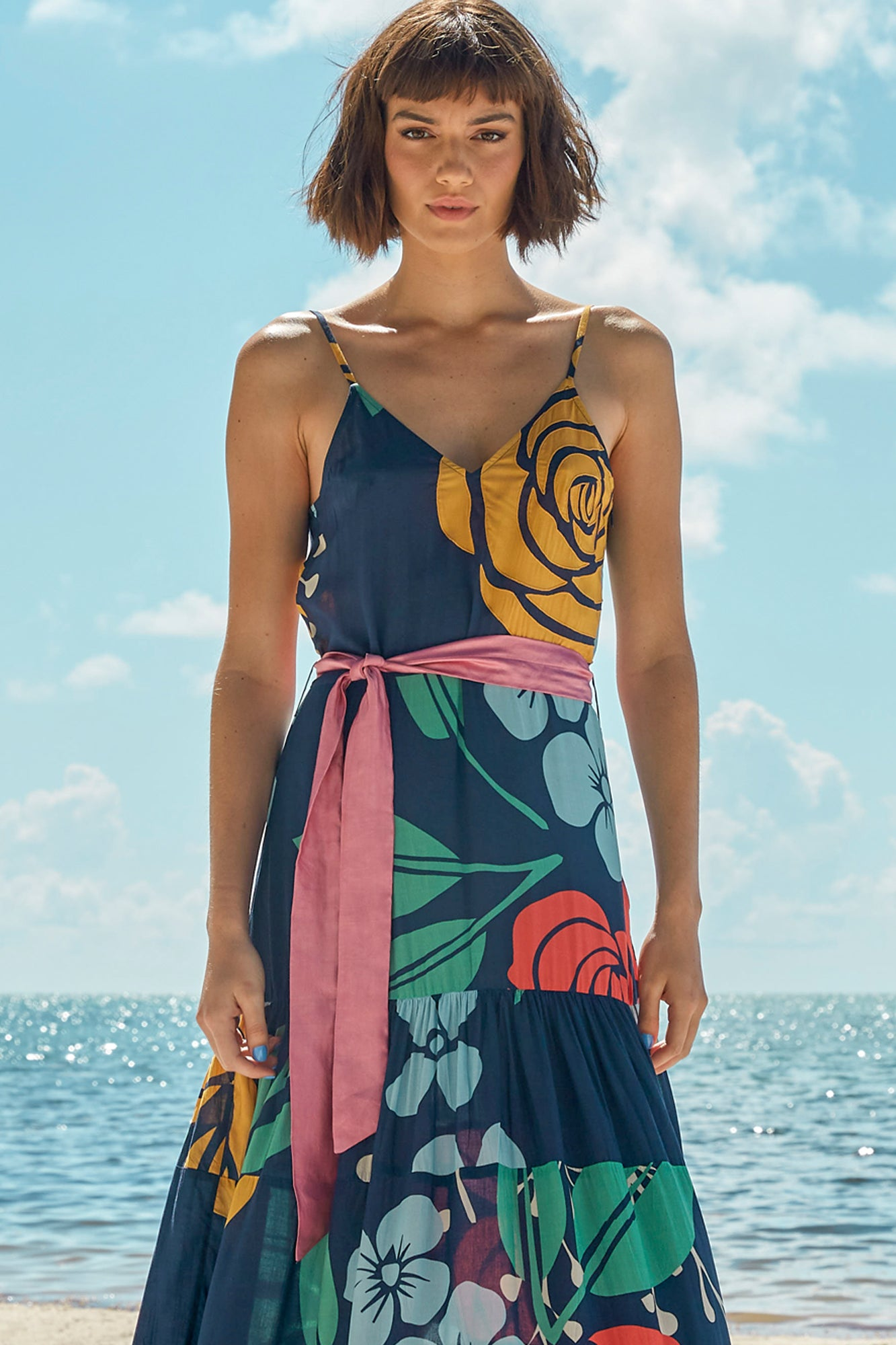 Carolina K Julia Dress in Navy Peonies