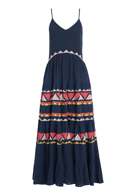 Carolina K Julia Dress in Navy Triangles