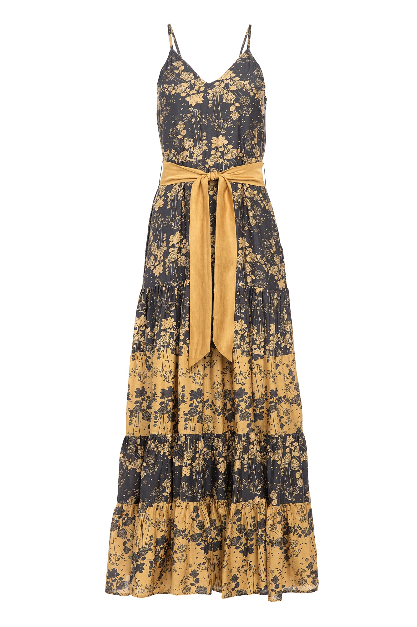 Carolina K Julia Dress Turmeric Roses