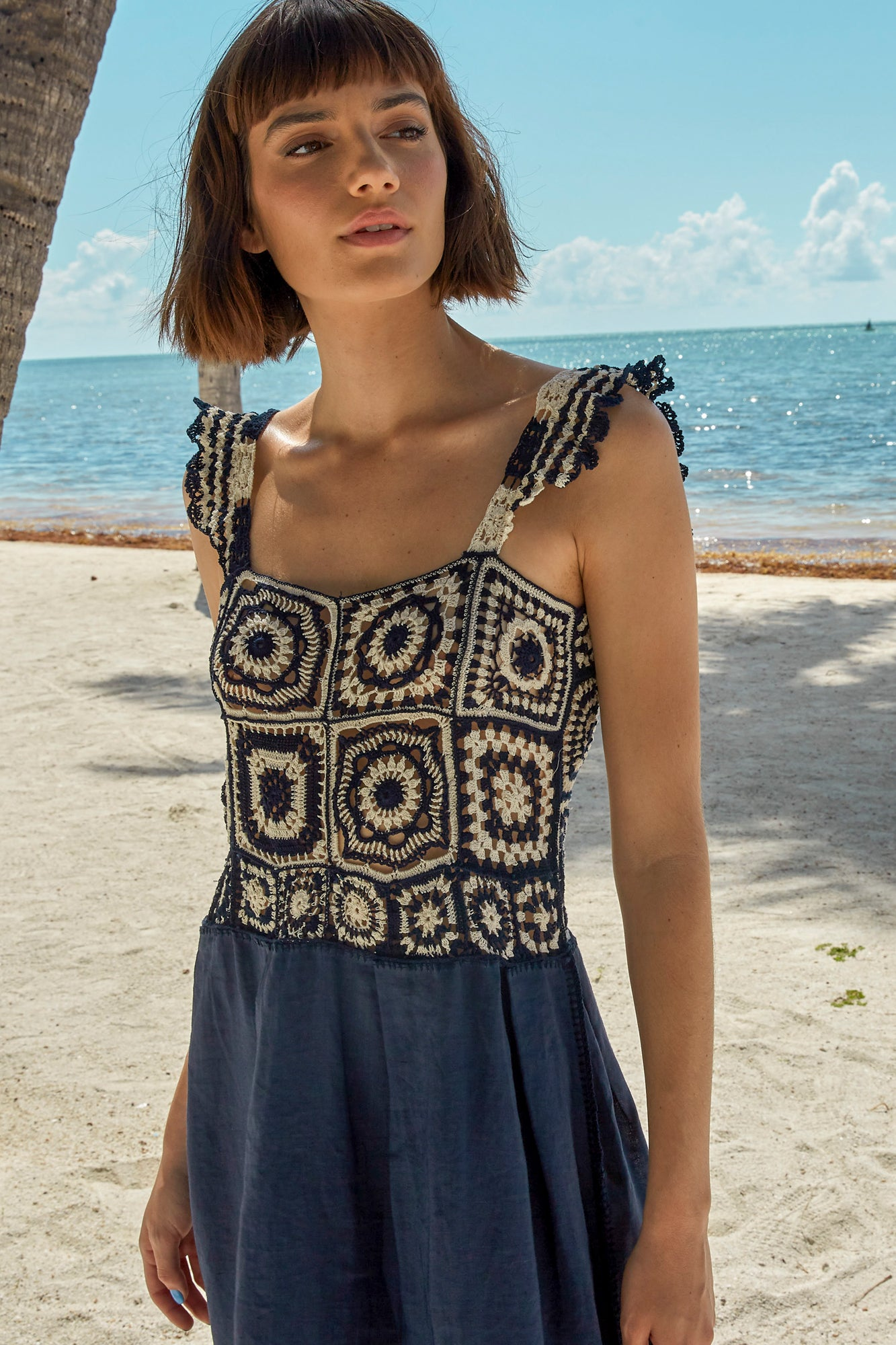 Carolina K Kuna Crochet Dress in Terracotta Tile Blue
