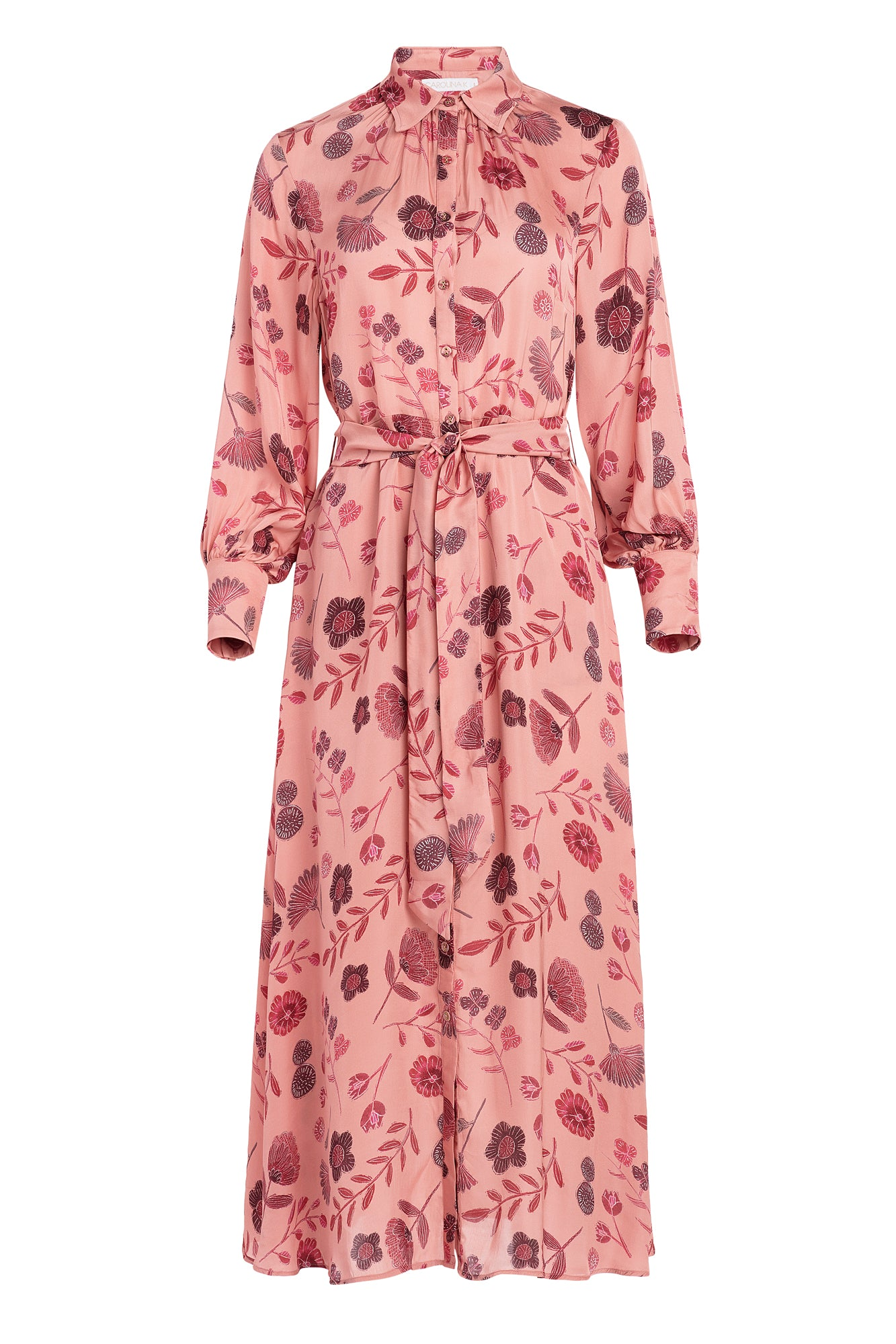 Carolina K Laura Shirt Dress in Pink Tea Flowers