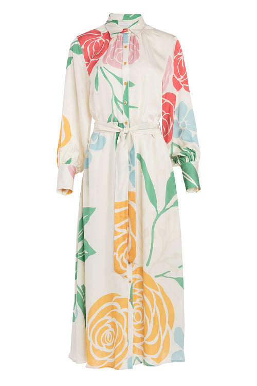 Carolina K Laura Shirt Dress in Cream Peonies