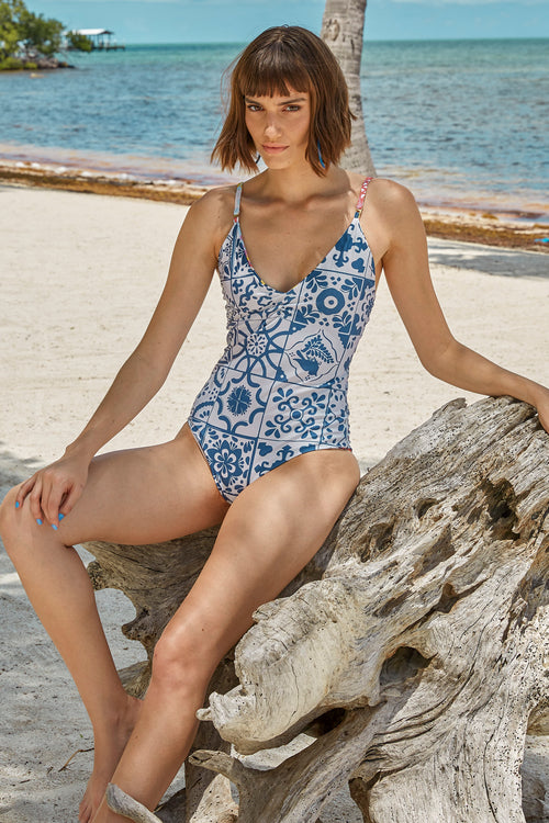 Carolina K Marieta One Piece in Terracotta Tile Blue
