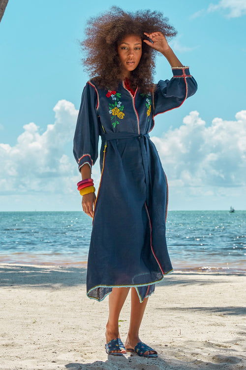 Carolina K Oaxaca Dress in Navy Peonies