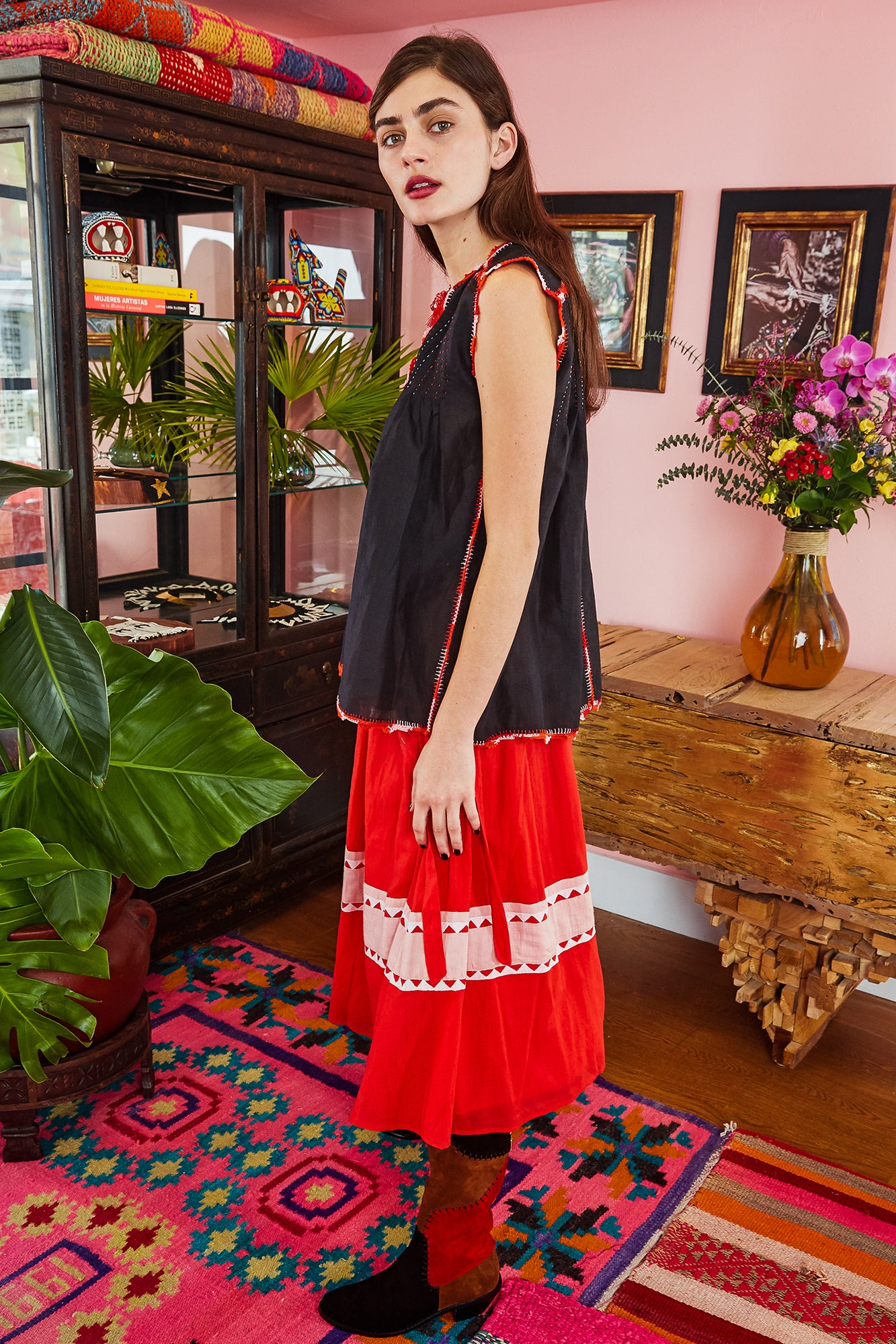 Carolina K Rosa Skirt Red Triangles