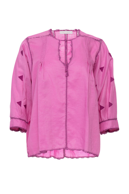 Carolina K Oaxaca Blouse Mexican Pink