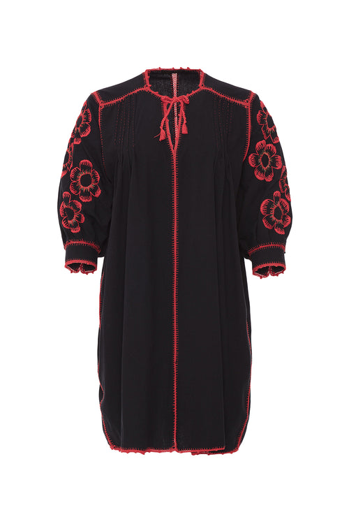 Carolina K Oaxaca Flower Dress Black/Red