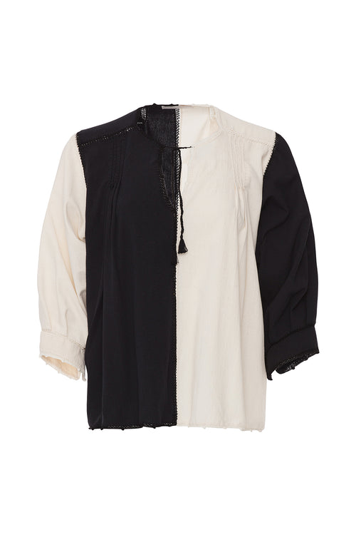 Carolina K Oaxaca Color Block Blouse Black/White