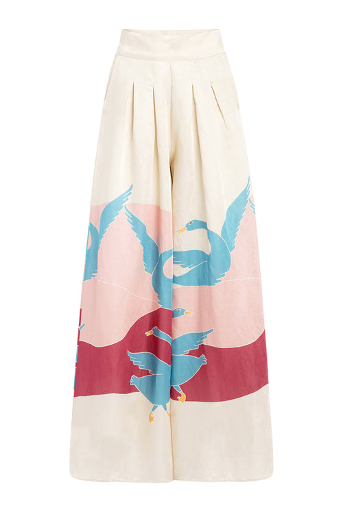 Carolina K Palazzo Pants in Bathing Birds Cream