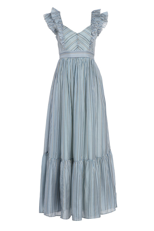 Carolina K Peasant Dress in Allure Blue Stripes