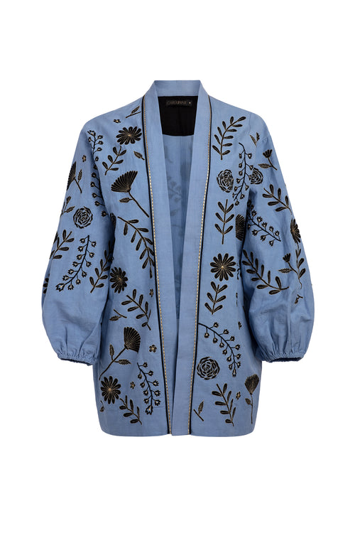 Carolina K Rolan Kimono in Blue Tea Flowers