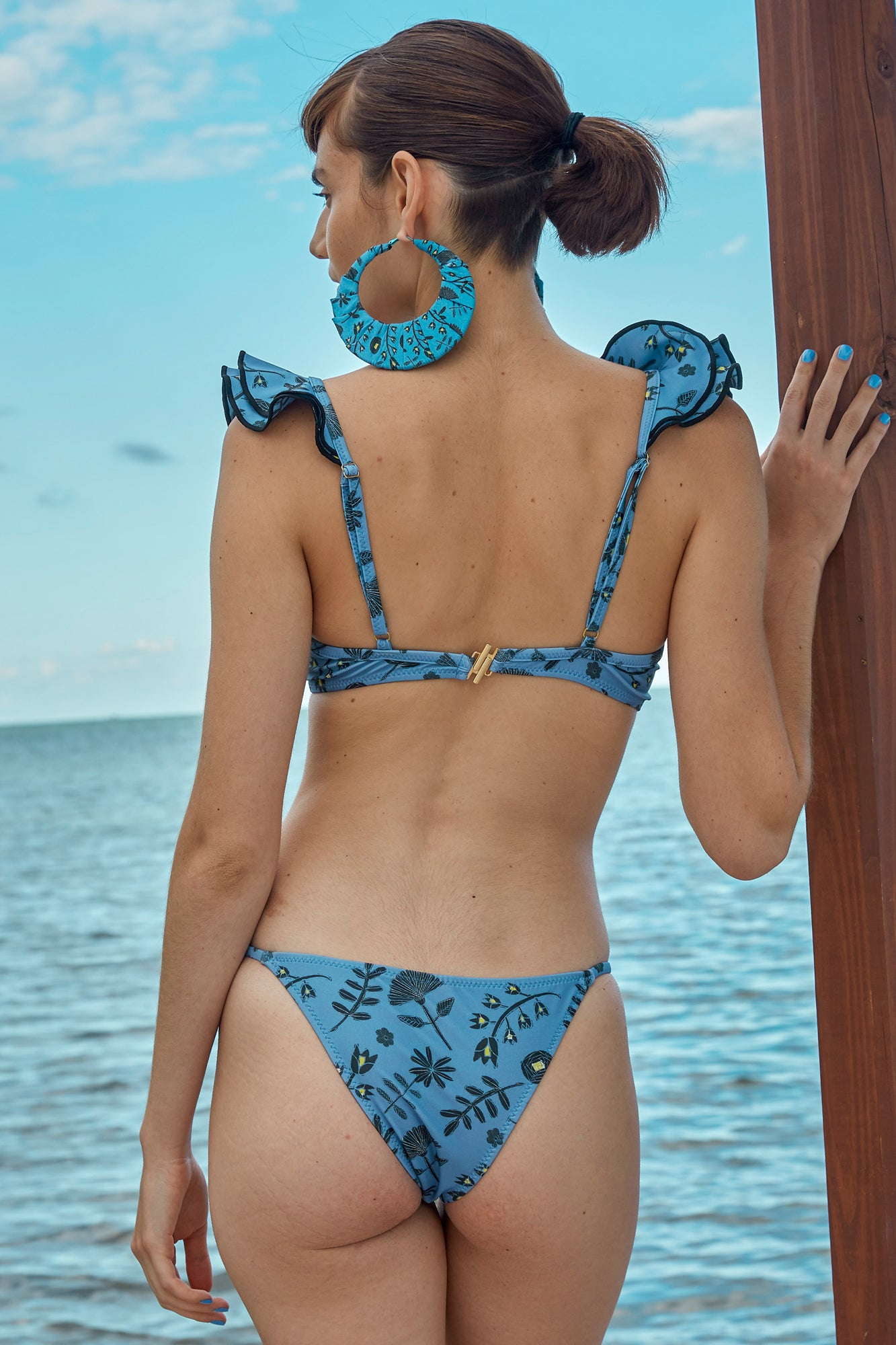 Carolina K Scarf Bikini Bottom in Blue Tea Flowers