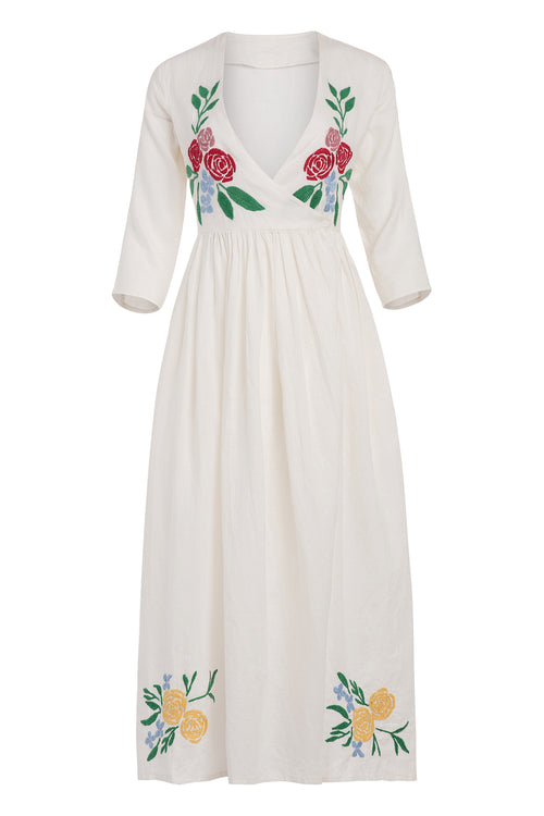 Carolina K Rosa Robe in Cream Peonies